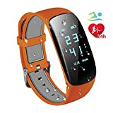 Fitness Trackers IP67 Waterproof with Heart Rate Monitor, Bluetooth 4.0 Waterproof Smart Fitness Wristband Bracelet Sport Pedometer 24-Hour Auto Activity Tracker with Alarm, Step Tracker, Calorie Counter, Sleep Monitor for iOS iPhone Android Smart Phone (Orange)