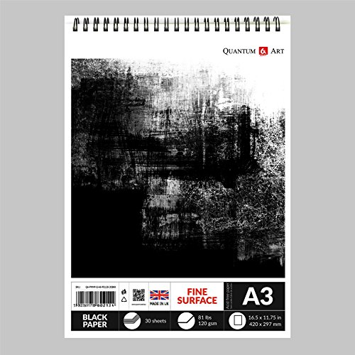 A3 Black Paper Drawing Sketch Artist Paper Pad on Spiral Book 120 gsm- 30 sheets