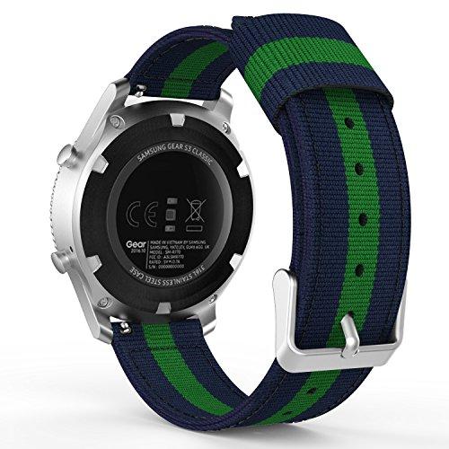 MoKo Gear S3 Watch Cinturino, Braccialetto Regolabile di Ricambio in Nylon Tessuto per Samsung Gear S3 Frontier/S3 Classic/Galaxy Watch 46mm/Moto 360 2nd Gen 46mm/Garmin Vívomove, Blu + Verde