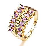 YAZILIND púrpura Cubic Zirconia Anillo Flor Hueco Forma Oro Plateado Compromiso Boda Joyas Regalo para Mujer tamaño 16, 5