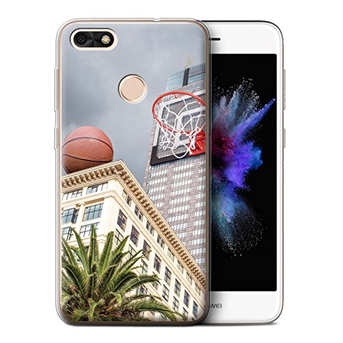 Basketball-telefon (Stuff4 Gel TPU Hülle / Case für Huawei P9 Lite Mini / Büro Basketball Muster / Unten Unter Kollektion)