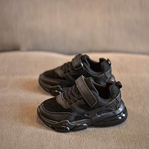 Aegilmc Elegante Sneaker Boy Scarpe Bambini Mesh Outdoor, Atletico Velcro Running Scarpe Bambini Estate Adolescente,Black,4US