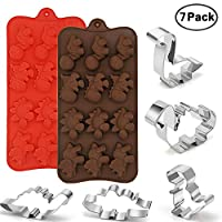 2 Pack Silicone Dinosaur Molds 5 Pack Stainless Steel Cookie Cutters, Food Grade Non Stick Chocolate Mold, Party Supplies Decorations Handmade Cookie,Kids Birthday Cookie Dinosaur Favors