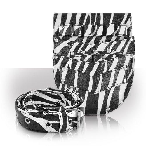 Roo Beauty Trousse de coiffeur, ciseaux Holster avec ceinture, kit de cheveux et accessoires en Cutter Zebra