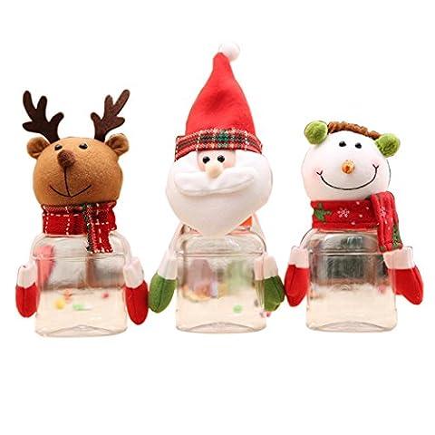 Pot de noel de Noël, Outgeek 3 Pack Cute Christmas Snow Man Santa Deer Peluches décoratives / Bouchon de bonbons en plastique Candy Box for Child Gift