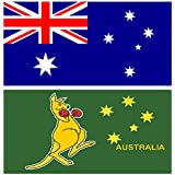 MEGA VALUE TWIN PACK Australia Flag + Boxing Kangaroo Quality Supporter Fans Large Flags 5'x3' (ft)