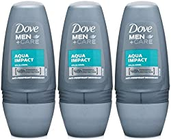 Dove Men+Care Antiperspirant Deodorant Roll On, Aqua Impact, 1.7 Oz / 50 Ml (Pack Of 3)