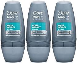 Dove Men+Care Antiperspirant Deodorant Roll On, Aqua Impact, 1.7 Oz / 50 Ml (Pack Of 3)