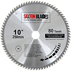 Saxton TCT Lame de scie à bois circulaire 250mm x 30mm x 80dents pour scie Bosch, Makita, etc. - pour scies de 255mm