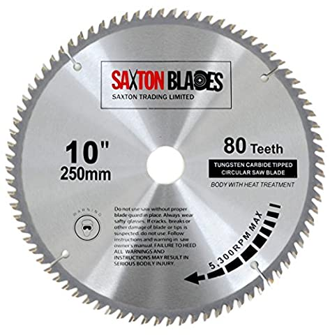 Saxton TCT Circular Wood Saw Blade 250mm x 30mm x 80T for Bosch, Makita etc fits 255mm saws