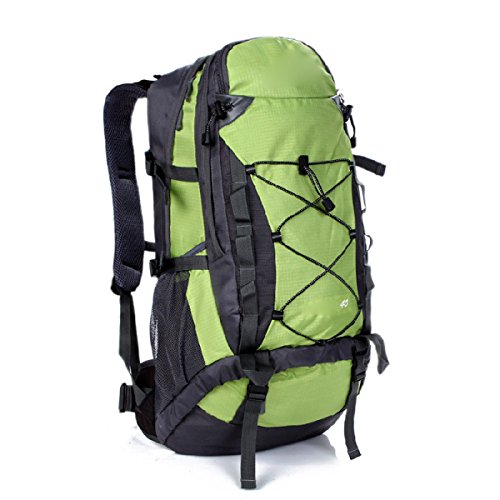 Wandern Rucksack 40L Nylon Wasserdicht Rucksack Outdoor Sportpaket,SkyBlue LightGreen