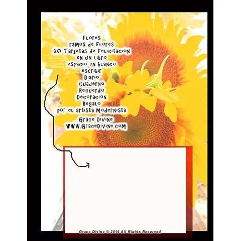 Flores ramos de flores 20 Tarjetas de felicitación en un libro espacio en blanco escribir Diario Cuaderno Recuerdo Decoración Regalo por el artista modernista Grace Divine