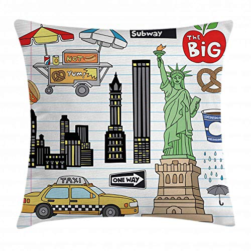 Doodle Throw Pillow Cushion Cover, New York City Manhattan Statue of Liberty The Big Apple Hot Dog Stand Sketch Style, Decorative Square Accent Pillow Case,Multicolor 16x16inch New York Satin Bow
