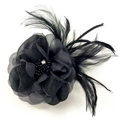 rougecaramel - Accessoires cheveux - Broche fleur/pince cheveux mariage 11cm - noir