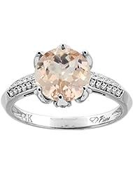 Revoni 14ct oro colgantes anillo Natural redondo 8 mm acentos de diamante