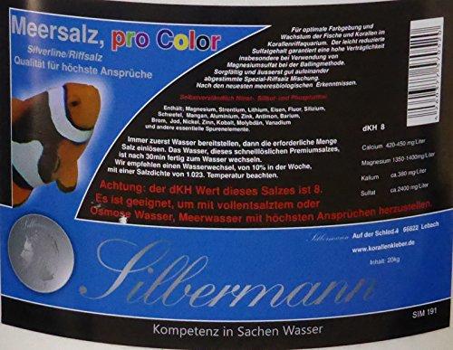 Silbermann Meersalz pro Color, 8 KH für Meerwasseraquarium, Riffaquarium, in verschiedenen Größen (20 kg Sack) -