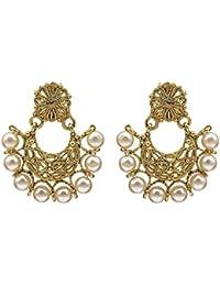 Kiyara Accessories Fashion Jewellery Traditional Gold Classic Floral Big Chandbali Alloy With Pearl Earring Set...