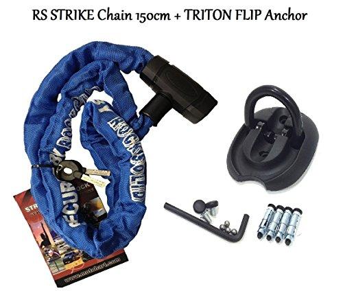 Moto RS Strike de sécurité pour moto 1,5 m chaîne antivol avec Triton Étui à rabat avec ancrage au sol