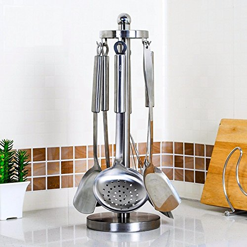 lzzfw Küche Regal Edelstahl 304 Rotary Küchenutensilien Rack Scoop Hängenden Rack Spachtel Rack Schaufel Rack Küche Kochgeschirr Lagerregal (Holz-herd-scoop)