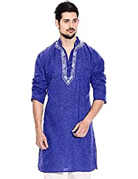 Sai Chikan Men's Regular Fit Embroidered Blue Jute Cotton Kurta With Payjama