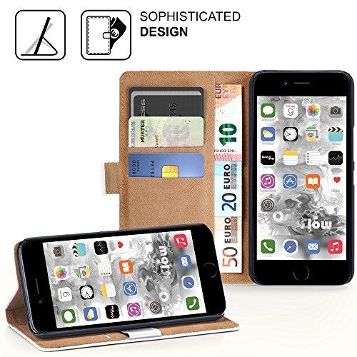 iPhone 7 Plus Hülle Dunkel-Rot mit Karten-Fach [OneFlow 360° Book Klapp-Hülle] Handytasche Kunst-Leder Handyhülle für iPhone 7 + Plus Case Flip Cover Schutzhülle Tasche PEARL-WHITE
