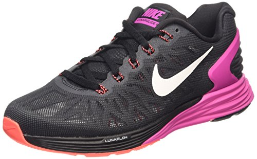 Nike Damen Lunarglide 6 Laufschuhe Schwarz (Black/White-FCHS Flash-ht lv 016), 39 EU