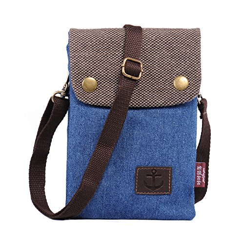 Handy Umhängetasche, Hengwin Canvas Universal Handytasche zum Umhängen Geldbörse Kleine Tasche für Frauen Mädchen Kinder iPhone 6 Plus 7 Plus Galaxy Note 5 4 S7 Edge S6 Edge Plus Sony Wiko, Blau (Body Edge Cross)