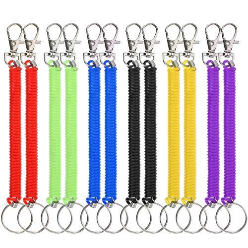 Stretchy Spiral Keyring Plastic Colorful Key Ring Spring Keys Holder for School, Work in 6 Colours ()