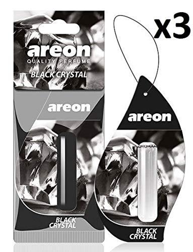 Areon liquido deodorante per auto appeso ciondolo in cristallo nero profumo di lunga durata Home 3D 5ml multi pack-Set di 3