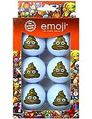 Emoji Unisexe Lot de 6balles de golf de déjections canines fantaisie, Multicolore