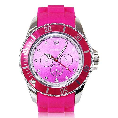 Preisvergleich Produktbild HC-Handel 914180 Silikon Armbanduhr Chromo Silikonarmbanduhr Outdooruhr Sportuhr - pink