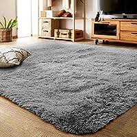 LOCHAS Super Soft Living Room Rug, Girls Bedroom Mat Area Rugs Home Decor Kids Room Oval Shaggy Carpet, 80 X 160cm(Grey)