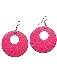 Juego de pendientes de Drop - Idin rosa de flores y crescent grabado pendientes redondos de madera (longitud aproximada, 70 mm, madera: 50 x 2 mm.)