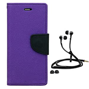 Aart Fancy Diary Card Wallet Flip Case Back Cover For Mircomax A110-(Purple) + Zipper earphones/Hands free With Mic *Stylish Design* for all Mobiles By Aart store
