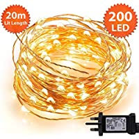 Micro Fairy Lights 200 LED 20m Warm White Indoor Christmas Lights Festive Wedding Bedroom Novelty Decorations Tree String Lights Mains Powered 65ft Lit Length 3m/9ft Lead Wire Copper Cable