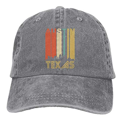 RAINNY Retro 1970's Austin Texas Cityscape Downtown Skyline Snapback Cotton Hat
