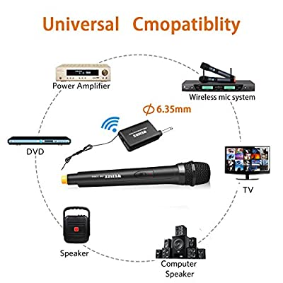 SunTop VHF Wireless Microphone Handheld 6.35mm Wireless Unidirectional Dynamic Microphone Voice Amplifier for Karaoke Nights and House Parties