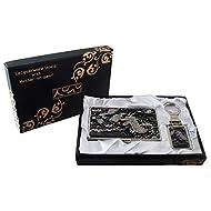 Mère de Pearl Dragon Noir Design porte-clés Support cartes crédit Nom Porte Carte d'identité Slim Argent cas de