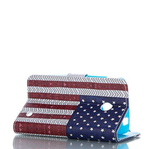 Flip Case mit Magnetverschluss für Apple iPhone 5C - Aohro Premium PU Leder Stand Case Wallet Brieftasche Ledertasche Schutzhülle Tasche + Staub Stecker + Stift - Muster Elefant American Flagge