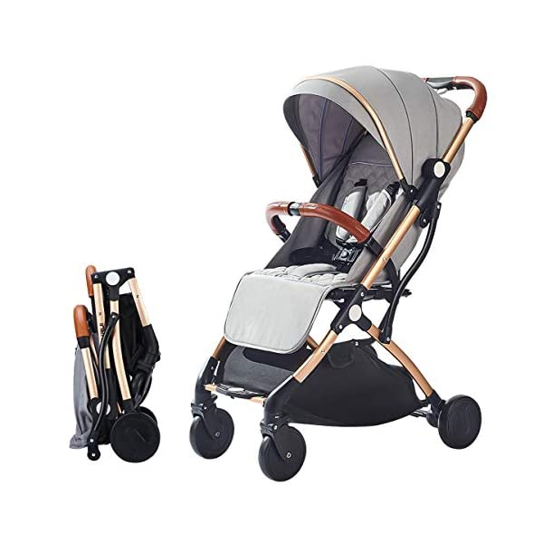 SONARIN Lightweight Stroller,Compact Travel Buggy,One Hand Foldable,Five-Point Harness,Great for Airplane(Grey) SONARIN Size:Suitable from birth up to 25kg, length:66CM, width:48cm, height:98cm.Folding up:60CM*48CM*26CM. Great for Airplane,can be placed in any car boot. Safe:With sturdy aluminum alloy, compact body and five-point seat harness,each stroller has been pressure tested to provide security for each baby. Quality and Design:The backrest of the stroller supports sitting, half lying, lying,all three angles,lengthened and widened sleeping basket. Four wheel independent shock absorbing and built-in bearings make it smoother and quieter. 1