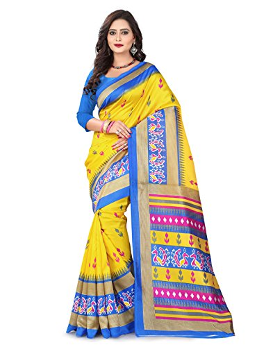e-VASTRAM Womens Art Mysore Printed Silk(NS21Y_Yellow)