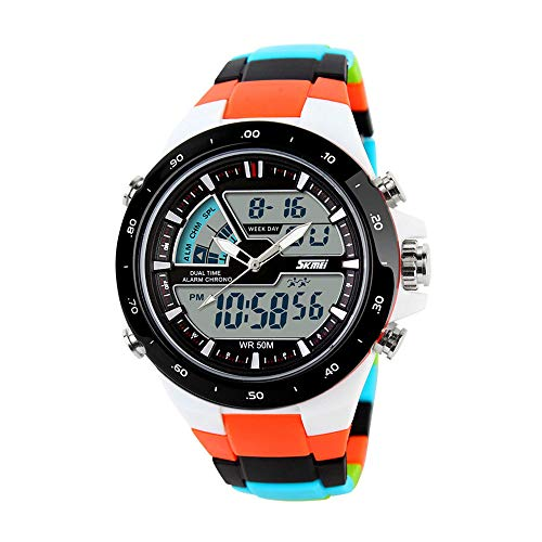 Skmei 5ATM impermeable moda hombre LCD Digital Cronómetro Cronógrafo Fecha de alarma...