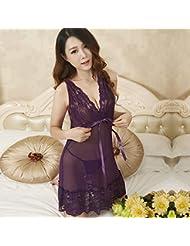 XW-atxsRopa interior de encaje vestido camison pijama suelto extrema ,180 (XXXL) Purple