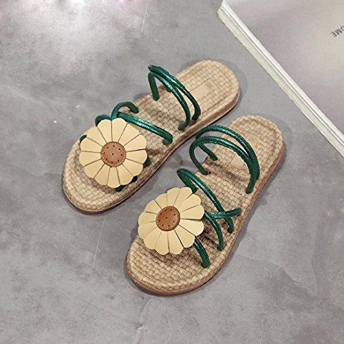 Transer ® Femmes Bohème fleurs Flip sandales Comfort été Flat sandales Flip tongs Vert