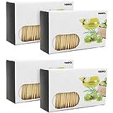 com-four® 4000 Zahnstocher aus Holz, Zahnhölzer in Spender-Box, 63 mm lang...