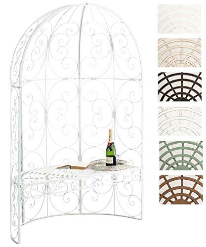 Clp padiglione da giardino con panca rosie - gazebo padiglione in ferro i pergola da giardino semiluna, portata max 200 kg i arco per piante rampicanti i pergola ad arco stile romantico bianco