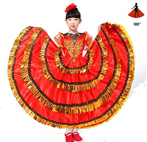SMACO Kinder Spanisch Tänzer Kostüm Sexy Flamenco Tänzerin/Mädchen Flamenco - Spanischer Tänzer Kinder Kostüm