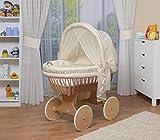 WALDIN Baby Stubenwagen-Set mit Ausstattung,XXL,Bollerwagen,komplett,44 Modelle wählbar,Gestell/Räder natur unbehandelt,Stoffe gelb/beige/kariert