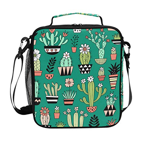 Orediy Isolierte Kühltasche Bento Lunchbag Cute Blooming Kactus Kids Students Tote Lunch-Kit Box für Reisen Picknick Schule