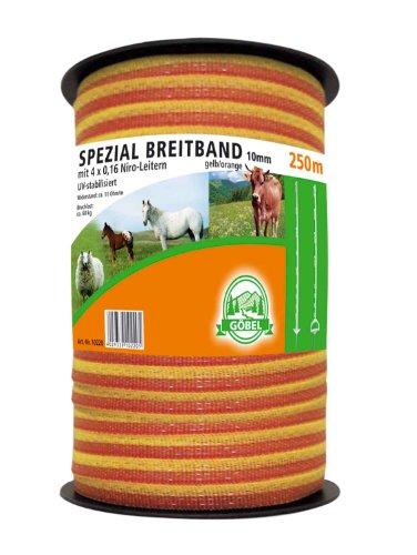 Weidezaunband - Herkules-Breitband 10 mm 250 m gelb/orange